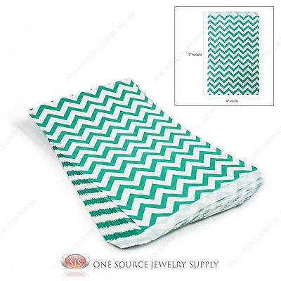 100 Green Chevron Gift Bags Merchandise Bags Paper Bags Retail Bags 6x 9