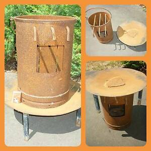 Rustic Steel Camping Fire Pot - BBQ - Grill - Pot Belly Heater Prospect Launceston Area Preview
