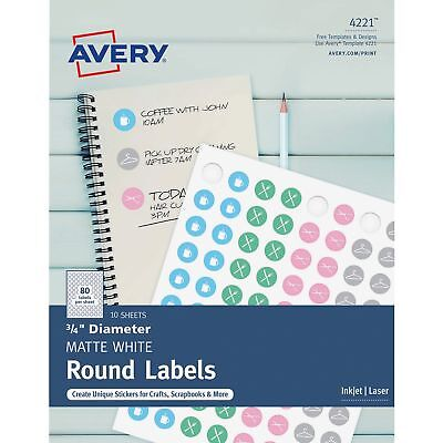 Avery Matte White Print-to-edge Round Labels Ave-4221 Ave4221