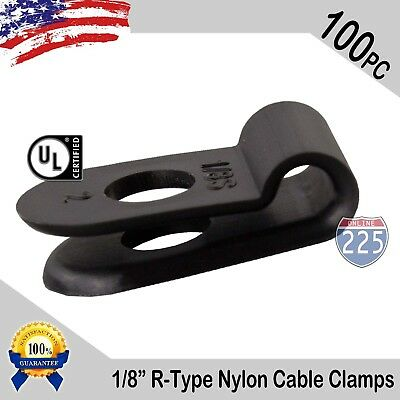 100 Pcs Pack 18 Inch R-type Cable Clamps Nylon Black Hose Wire Electrical Uv