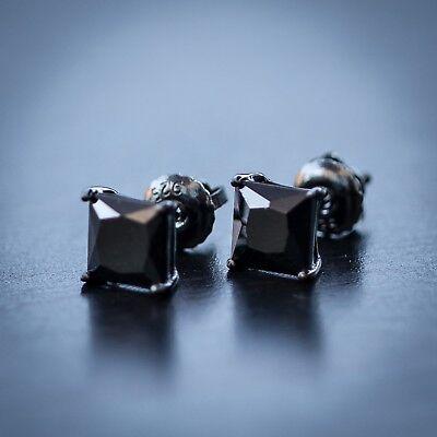 Hip Hop Black Diamond Princess Cut Stud Earrings Screw On Post ()