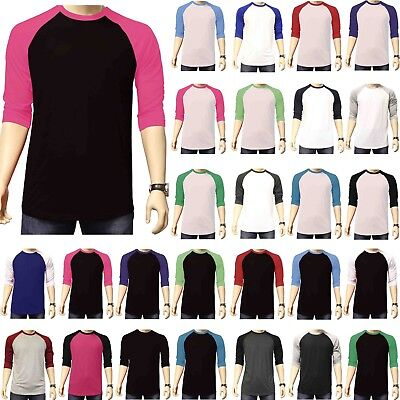Team Color Baseball Jersey (3/4 Sleeve Plain Baseball Raglan T-Shirt Tee Mens Sports Team Jersey 30+ Colors )