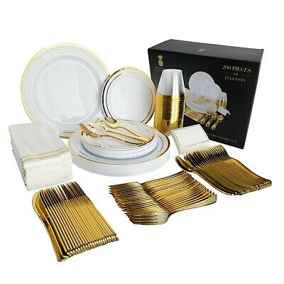 200 Piece Gold Plastic Disposable Dinnerware Set & Plates for 25 Party Guests