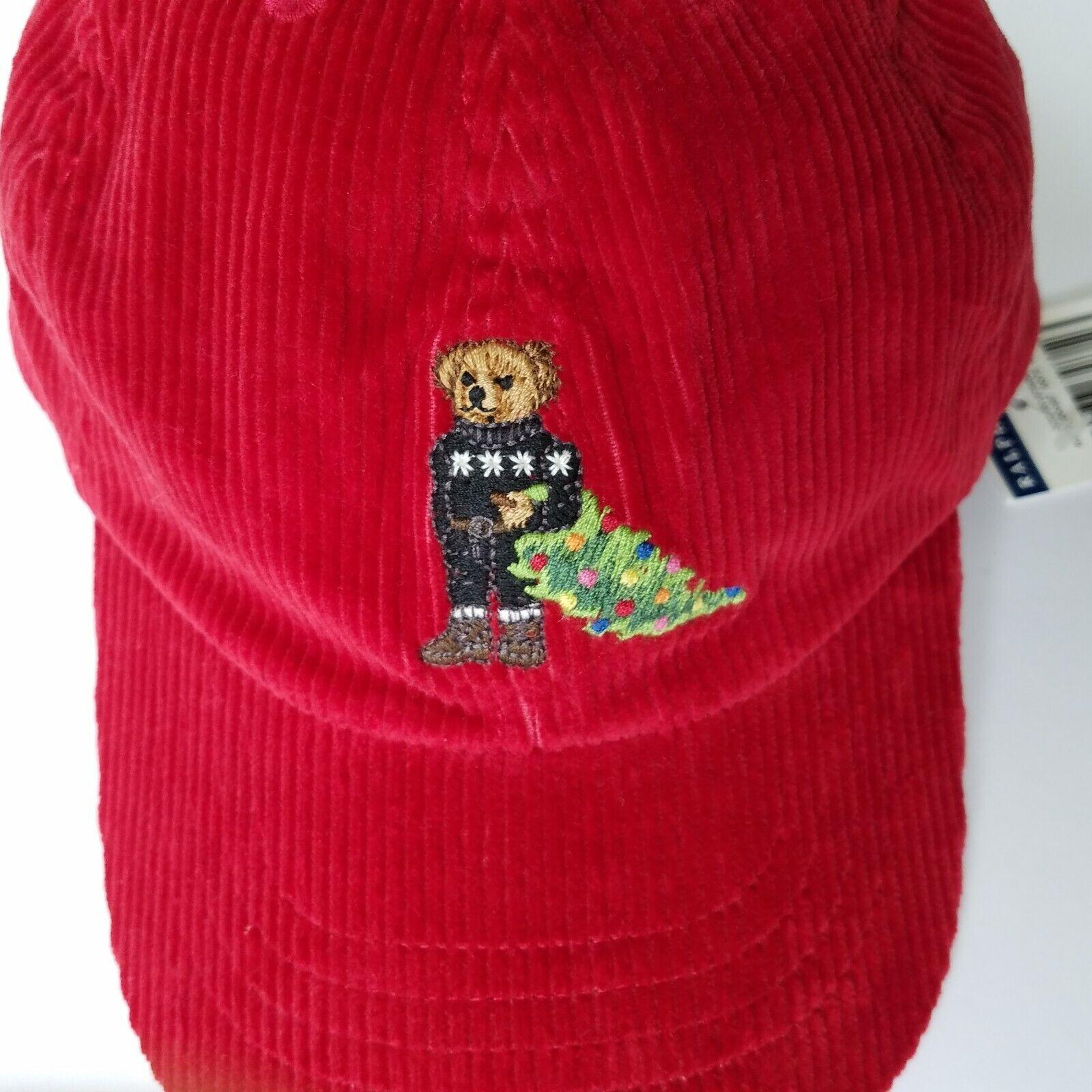 Polo Ralph Lauren Boys Polo Christmas Bear Red Cap One Size: