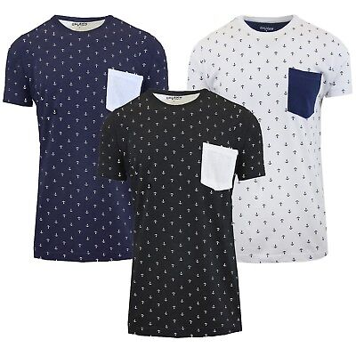 Mens S/S Printed Tee T-Shirt 100% Cotton w/ Chest Pocket Anchor Crew Neck Colors