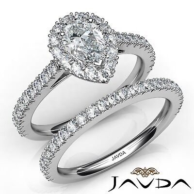 2.5ct French Pave Bridal Set Halo Pear Diamond Engagement Ring GIA F-VVS1 W Gold