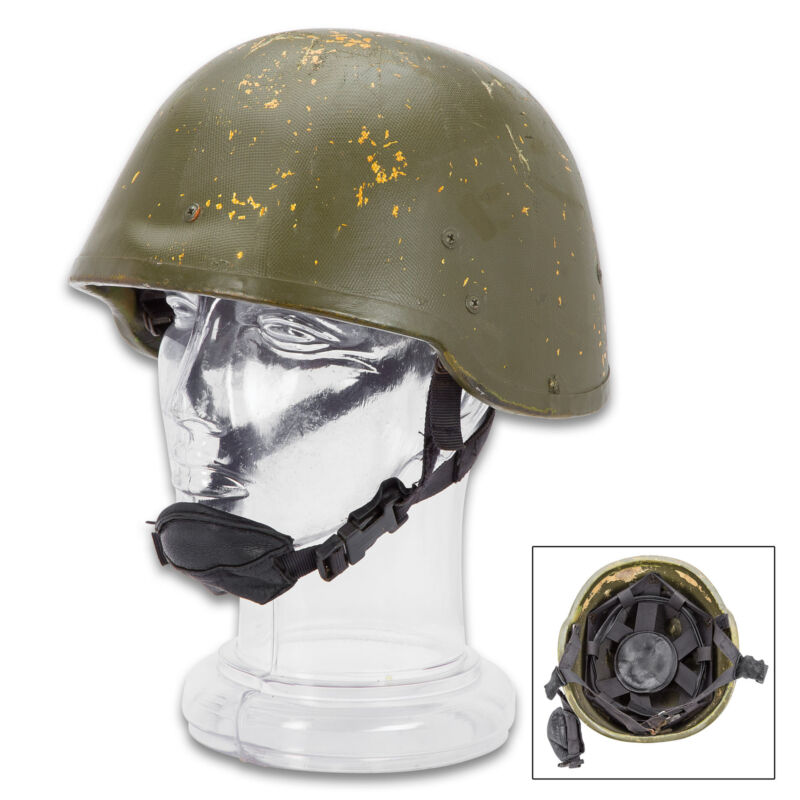 NATO Military Surplus Tactical Camo Helmet with Kevlar USED