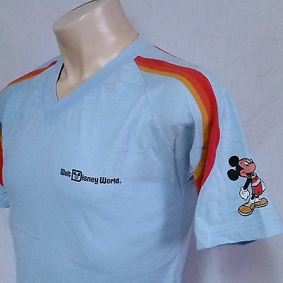 VTG Walt Disney World T Shirt 80s Mickey Mouse 70s Fashions Jersey V Neck Large