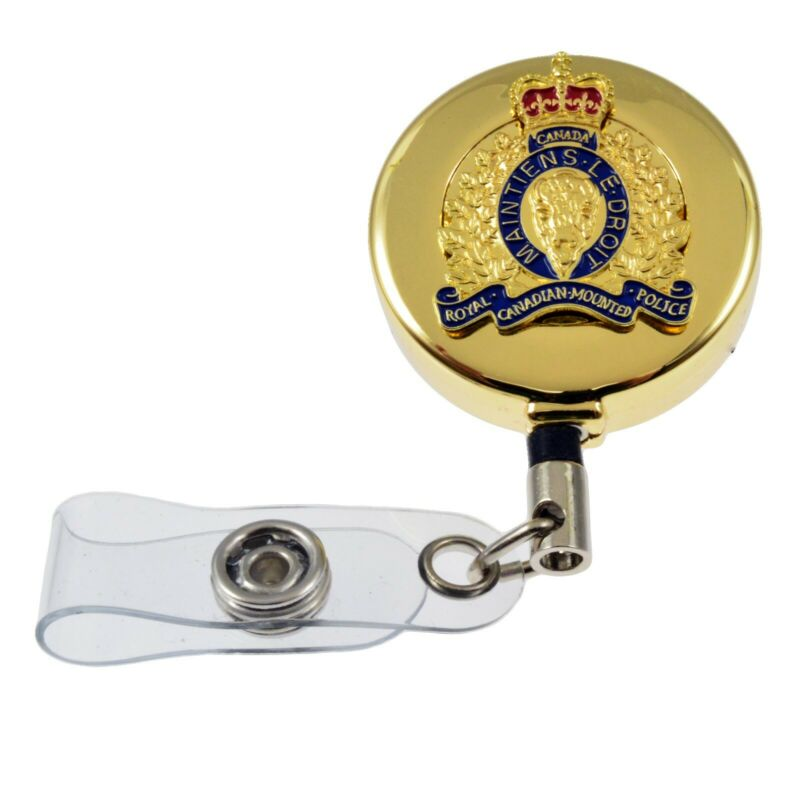Royal Canadian Mounted Police RCMP GRC Crest Retractable Security ID Card Holder