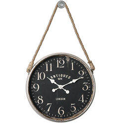 Luxe Vintage Style Hanging Black Wall Clock | Round Rope Cottage Antique Look