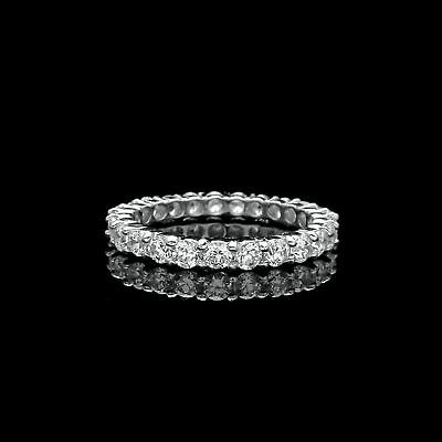 1.50CT BRILLIANT CREATED DIAMOND ETERNITY RING SOLID 14K WHITE GOLD BAND SIZE 5