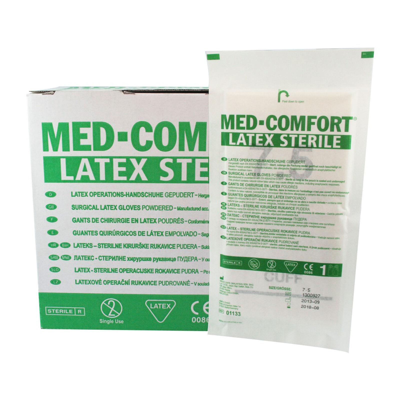 50 Paar MED-COMFORT Latex Operationshandschuhe steril gepudert OP-Handschuhe