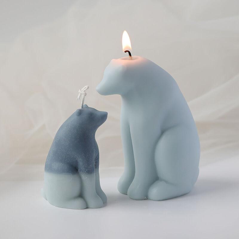 3D Candle Mold Pillar Silicone Soap Mold Polar Bear DIY Handmade Craft Wax Mould
