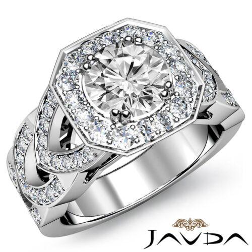 Classic Round Diamond Halo Set Engagement Ring GIA F SI1 14k White Gold 2.28ct