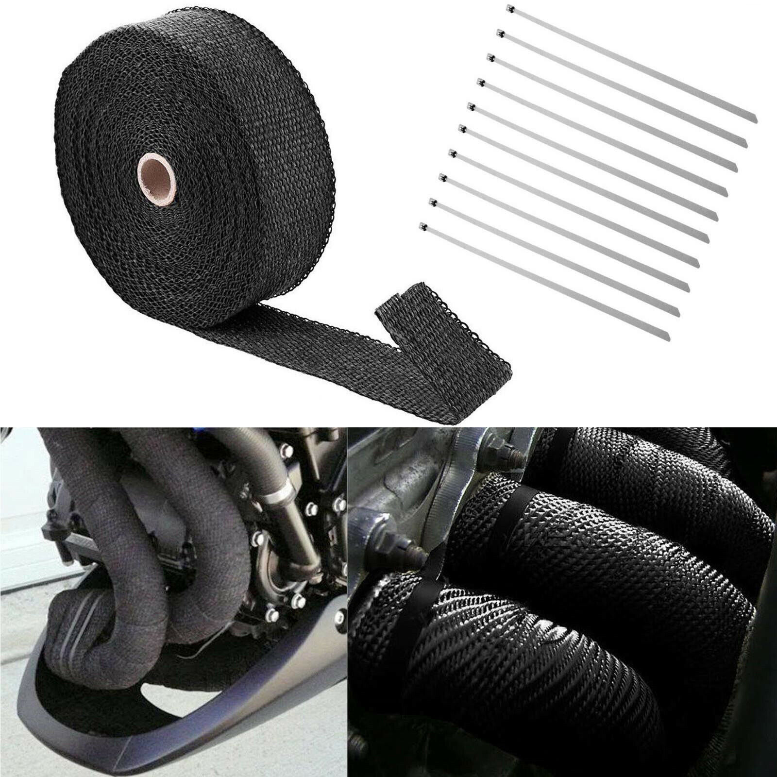 """Black High Tempera Manifold Exhaust Header Heat Wrap 1/"""" 50 FT Roll With Ties Kit"""