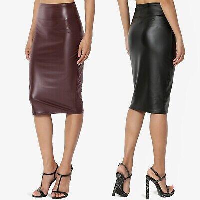 TheMogan S~3X Faux Leather High Rise Waist Bodycon Knee Length Pencil Skirt