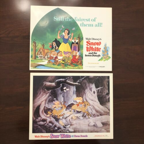 DISNEY 1975-R SNOW WHITE AND THE SEVEN DWARFS 2 ORIGINAL LOBBY CARDS TITLE CARD