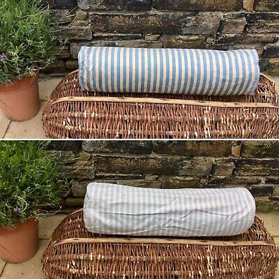 Antique Vintage French Ticking Bolster Pillow Cotton Casing Feather Filled 70cm