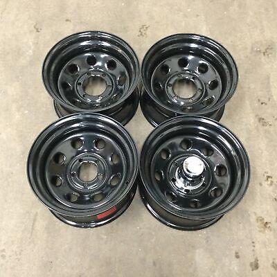 Set 4 15x8 Vision 85 Soft 8 Gloss Black Steel Wheels 6x5.5 -19mm 6 Lug