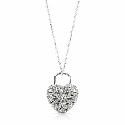 Diamond Filigree Heart ($7,400 Tiffany & Co. Diamond Filigree Heart Pendant in 18K White Gold 0.69 CTW )