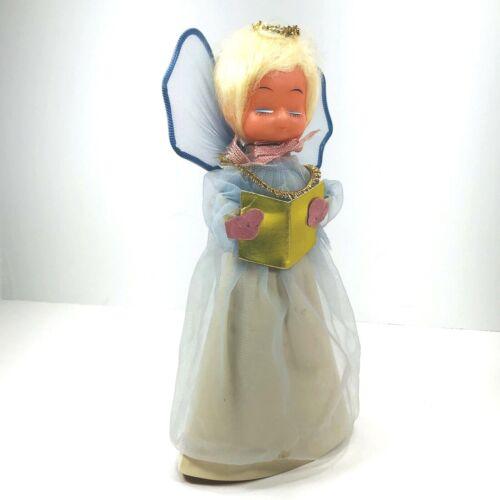 Vtg Blonde Blue Eyes Angel Tree Topper Sheer Blue Dress Over Cardboard Cone Body