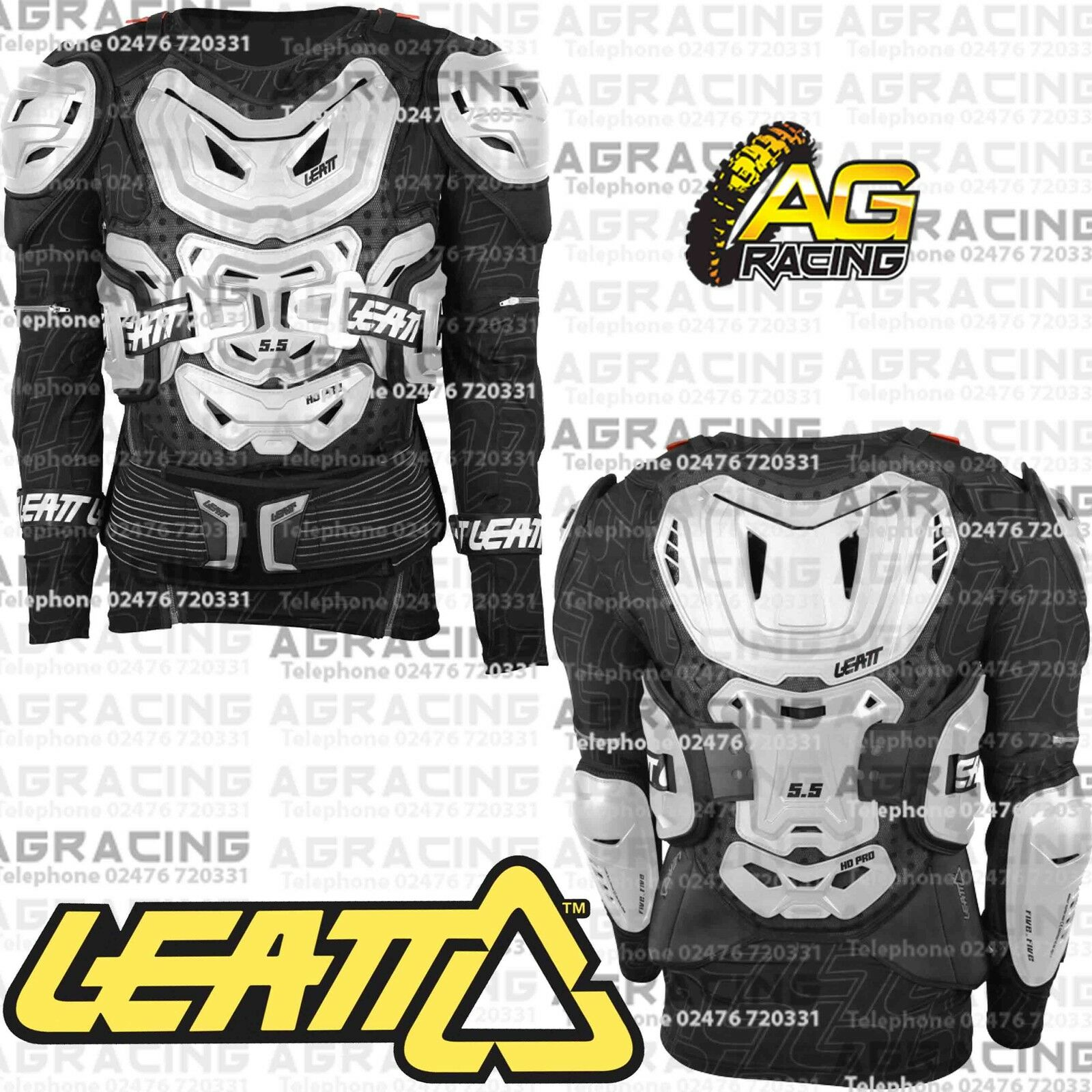 LEATT BODY PROTECTOR 5.5 ADULT ARMOUR PRESSURE SUIT WHITE MX MOTOCROSS ENDURO
