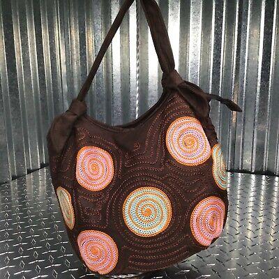 Bamboo 54 Bamboo Bag (Bamboo 54 Brown Shoulder Bag Pink Orange Embroidered Circles Purse)