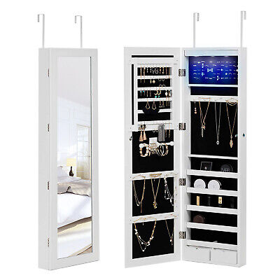 Wall Door Mounted LED Mirror Jewelry Cabinet Storage Organizer w/2 Drawers White