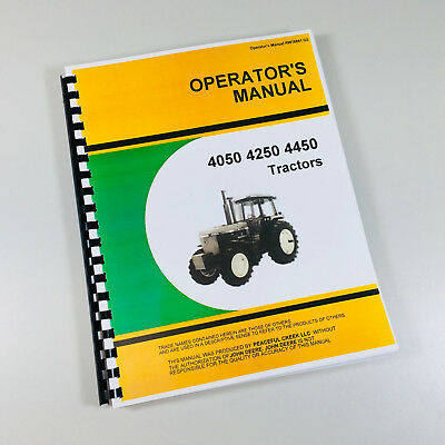 Operators Manual For John Deere 4050 4250 4450 Tractor Owners Maintenance Lube