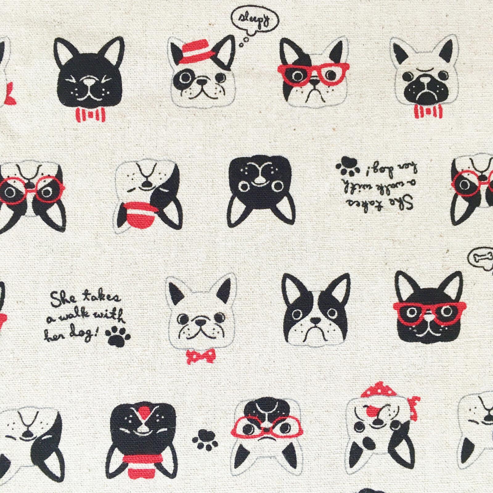 Fat Quarter Dogs Cameo Dog Dalmation French Bulldog 100/% Cotton Quilting Fabric