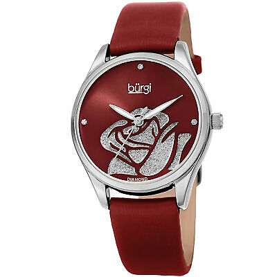 Women's Burgi BUR189RD Diamond Red Sparkle Rose Satin over Leather Strap Watch