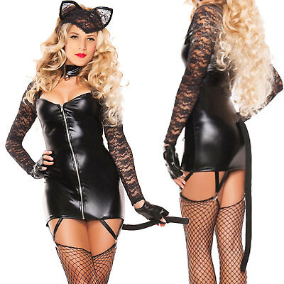 Kostüm Karnevalkleid Frau Katze Verkleidung Halloween Neu DL-2149