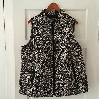 Relativity Women's Vest Leopard Print Plus Size 2X Full Zip Quilted, Pockets
