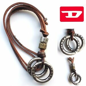 DIESEL Necklace Pendant Rings Leather Brown Surfer Unisex Strap Chain UK Seller