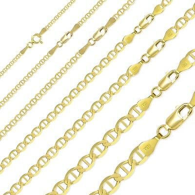 14K Solid Yellow Gold Mariner Necklace Chain 1.5-7.7mm 16-26