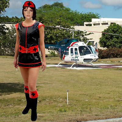 PVC Kostüm Krankenschwester Gr. XS/S schwarz Nurse - Krankenschwester Kostüm Schwarz