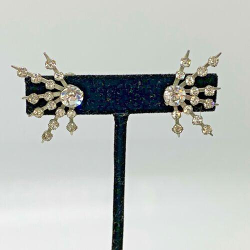 Vintage Art Deco Clear Faceted Rhinestone Starburst Screw Back Earrings