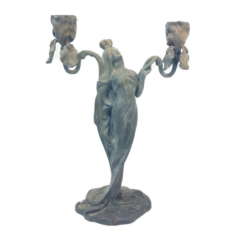 Antique French Bronze Art Nouveau Claude Bonnefond Figural Lady Iris Candelabra