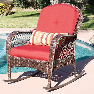 Red Cushion Resin Wicker Patio Rocker Outdoor Home Seating Furniture