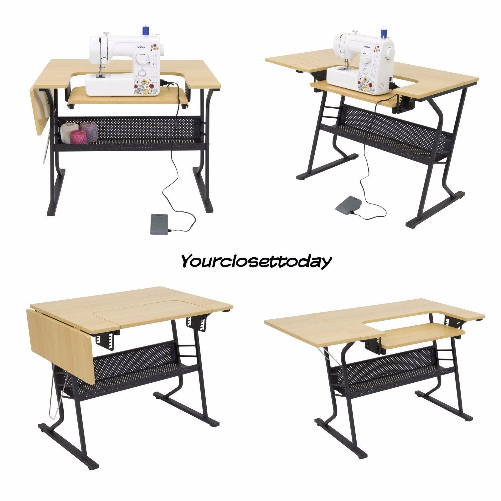 new sewing machine craft table folding computer desk storage shelves art beige. Black Bedroom Furniture Sets. Home Design Ideas