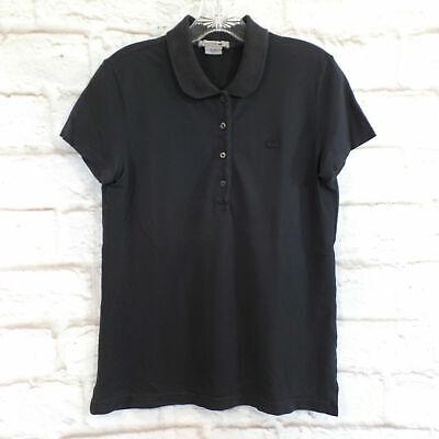 Lacoste Women's Vintage Wash Black Size 38 Pique Polo Knit Top