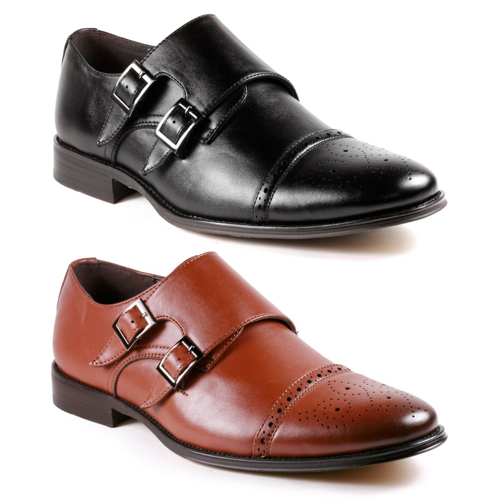 Metrocharm MC300 Men's Cap Toe Double Monk Strap Oxford Classic Dress Shoes