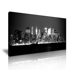 New York City Manhattan At Night Skyline Canvas Wall Art Picture Print 60x30cm