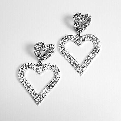E0128 Silver Tone Clear Rhinestones Love Heart Shape Drop Dangle Post Earrings Dangling Heart Post Earrings