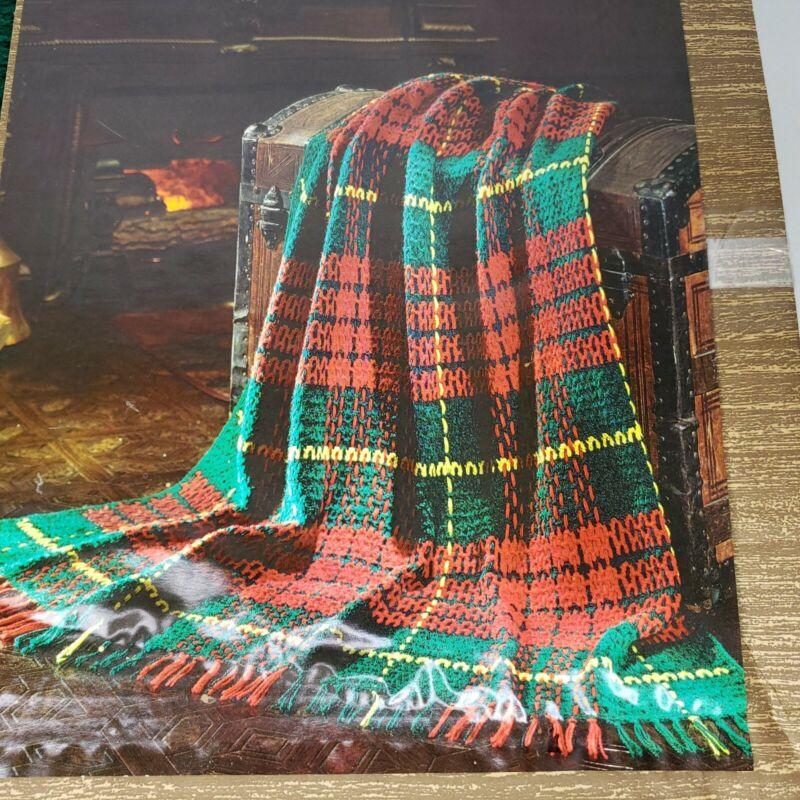 "Vintage WonderArt Scottish Plaid Afghan 4130 Crochet Kit Fringe Size 45"" x 65"""