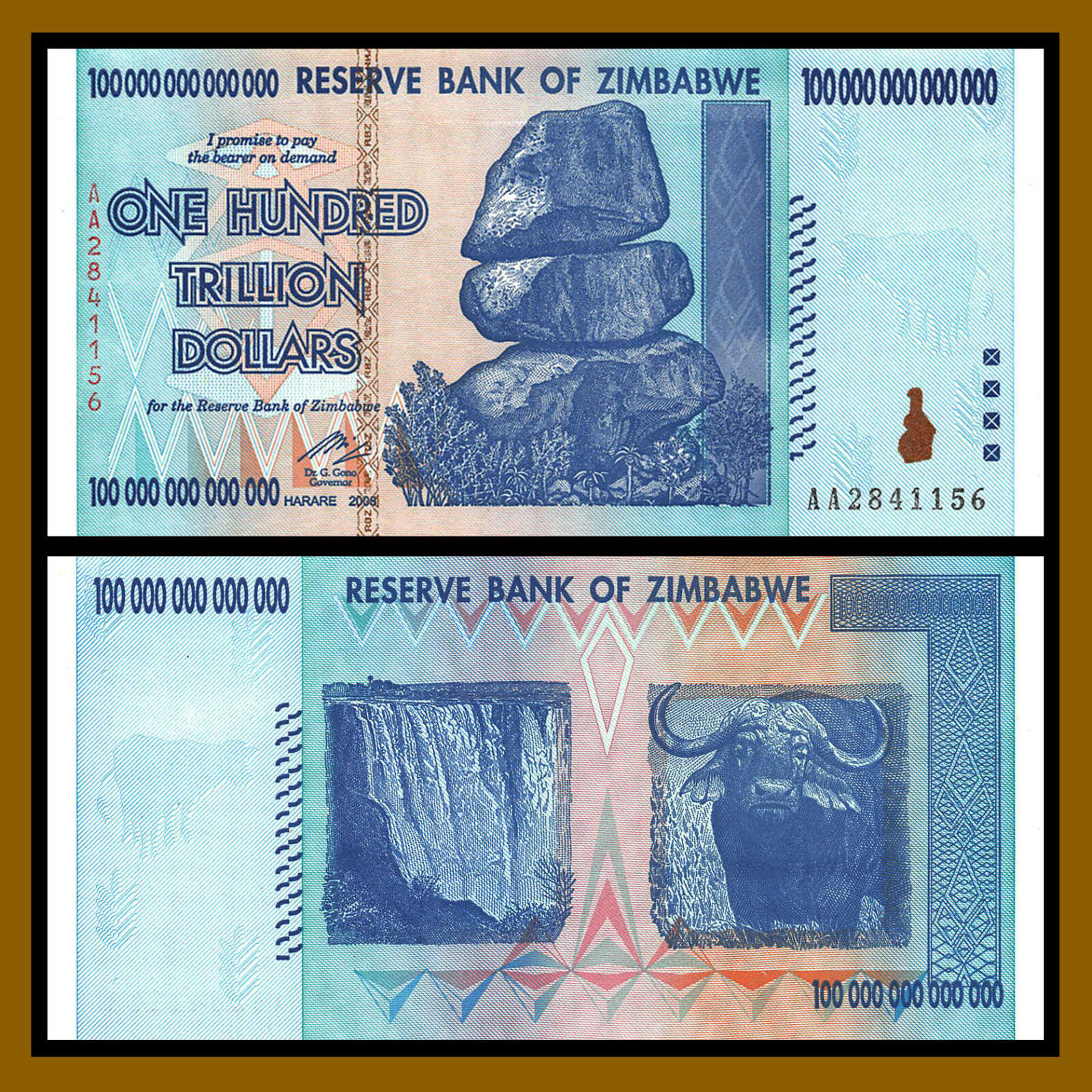 Zimbabwe 100 Trillion Dollars x 5 Pcs Bundle, 2008 AA P-91 Unc