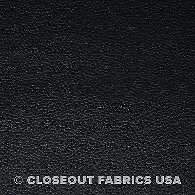 BLACK VINYL FABRIC FAUX LEATHER AUTO UPHOLSTERY PLEATHER 54