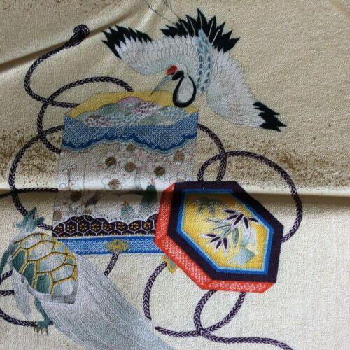 Antique RARE Japanese Crane Gift Box Badger Fukusa Gift Cover