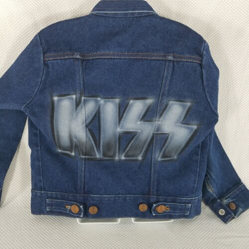 Vintage Wrangler 1970s KISS Airbrushed Denim Jean Jacket Childrens Size 8