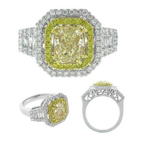 GIA 3.00 Carat Fancy Yellow Cushion Cut Diamond Engagement Ring in 18k Gold
